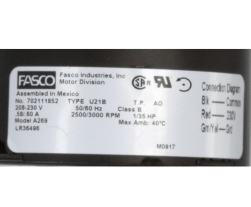 Fasco A269 3000 RPM 208-230 Volts OEM Replacement Draft Inducer Blower