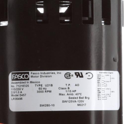 Fasco D457 1/15 HP 3000 RPM 115/230 Volts Flue Exhaust & Draft Booster Blower Motor