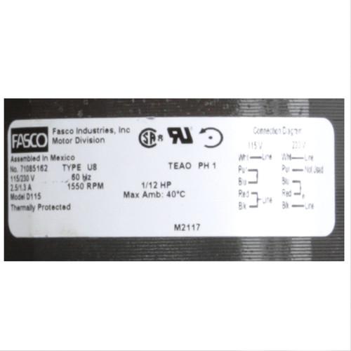 Fasco D115 1/12 HP 1550 RPM 115/230 Volts Fan Coil Unit Motor