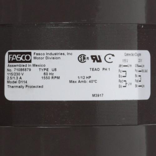 Fasco D114 1/12 HP 1550 RPM 115/230 Volts Fan Coil Unit Motor