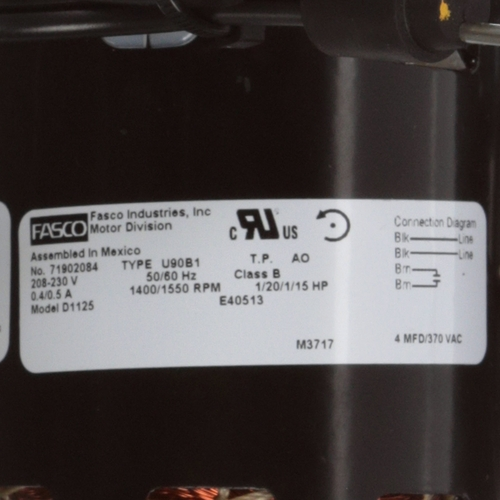 Fasco D1125 1/12 HP 1550 RPM 208-230 Volts Refrigeration Fan Motor