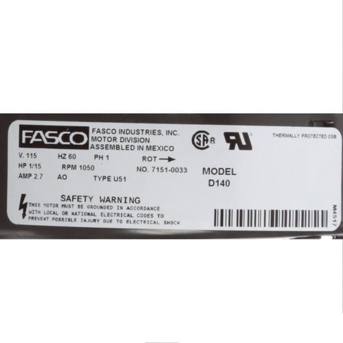 Fasco D140 1/15 HP 1050 RPM 115 Volts Unit Heater Motor