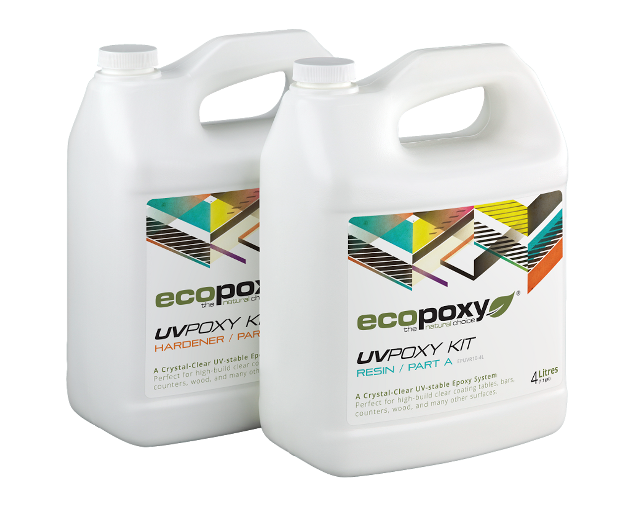 """UVPoxy is a high performance epoxy also used for bar tops and table tops which produces a high build crystal clear durable finish that resists yellowing, fading or cracking over time. UVPoxy can endure extremely high traffic areas such as experienced by night clubs and restaurants. UVPoxy is perfect for embedding mementos such as coins, photos or other memorabilia, it is also commonly used for see through encapsulation, the making of jewelry and much more. UVPoxy will self-level and can easily be built up to a depth of 1/4"""" thick layers.  UVPoxy is specifically formulated to resist yellowing caused by sunlight and other ultra violet light sources and to resist scratching, water, and alcohol to provide a long lasting maintenance free protection for your surface."""