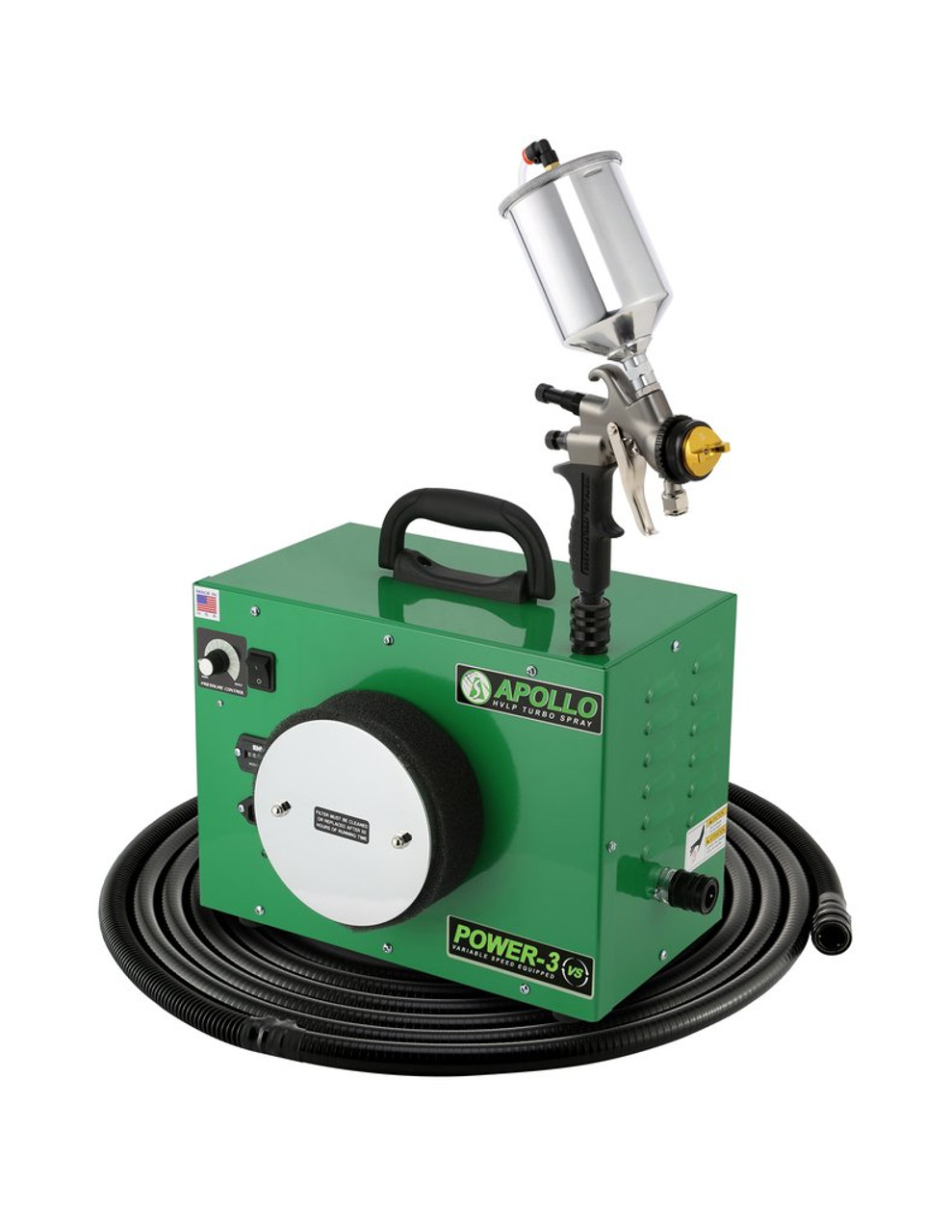 Apollo - 3-stage, POWER 3 VS; 110 volt motor with 29' air flex hose and A7700GT-1000 spray gun and an A7536A 1,000cc Gravity Feed cup. (PW3VS1107700GT)