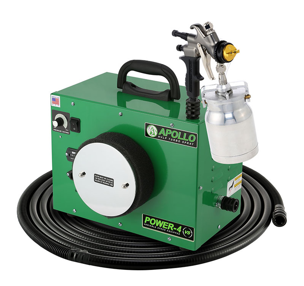 Apollo - 4-stage, POWER 4 VS; 110 volt motors with 29' air flex hose and A7700QT spray gun and an A5251-NT Siphon Feed cup. (PW4VS1107700QT)