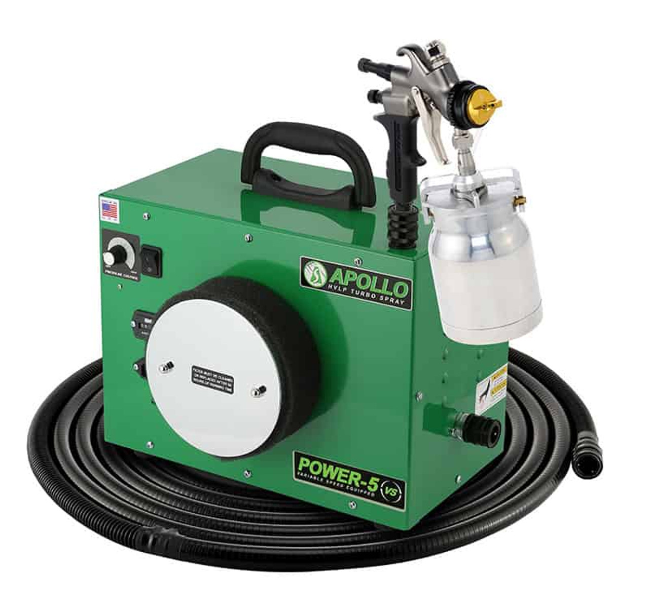 Apollo - 5-stage POWER 5 VS; 110 volt motor with 32' air flex hose and A7700QT spray gun and an A5251-NT Siphon Feed cup (5VS1107700QT)