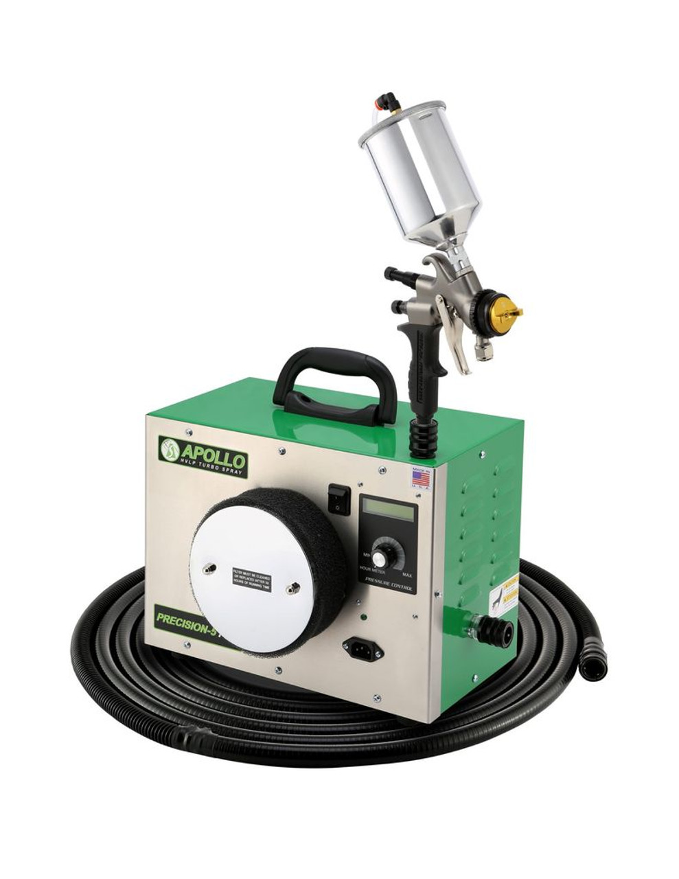 """Apollo - 5-Stage Precision 5 Pro, 120 volt motor, with internal bleed, Includes 32"""" Air Flex Hose, A7700GT-600 Spray Gun with A5034A 600cc cup. (P51107500GT600)"""