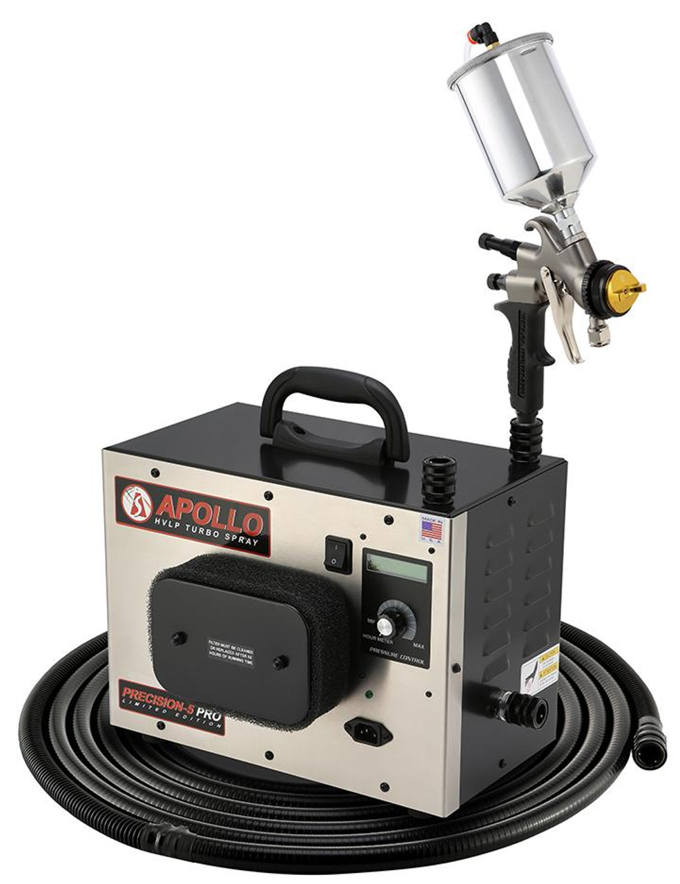 """Apollo - 5-Stage Precision 5 Pro LE; 120 volt motor, with internal bleed, Includes 32"""" Air Flex Hose, A7700GT-600 Spray Gun  A5034A 600cc Gravity Feed cup & Accessories (PSPROLE11077006)"""