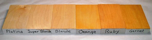 This is a comparison of colors of the dewaxed flakes we carry.  Each example is 3 coats on hard rock maple.  This is just to give you an idea of the different colors. Because of variations in computer screens and the photo, they are not exact.  The photo shows no distinct difference between the Platina and Super Blonde samples. When viewed in person there is a visible difference in these two samples.