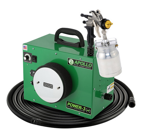 Apollo - 3-stage, POWER 3 VS; 110 volt motor with 29' air flex hose and A7700QT spray gun and an A5251NT Siphon Feed cup. (PW3VS1107700QT)