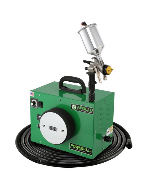 Apollo - 3-stage, POWER 3 VS; 110 volt motor with 29' air flex hose and A7700GT-600 spray gun and  A5034A 600cc Gravity Feed cup. (PW3VS1107700GT6)