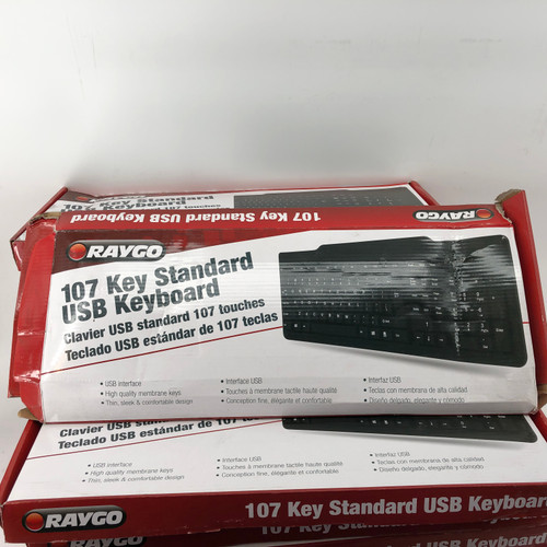 LOT OF 20 - RAYGO R12-42521 107 STANDARD USB KEYBOARD - NEW