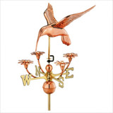 Full Size Weathervane Hummingbird with Flowers in Polished