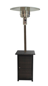 AZ Patio Heaters Square Dark Brown Wicker Patio Heater with Table