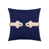 Elaine Smith Navy Frog's Clasp toss pillow