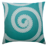 Elaine Smith Spiral Aqua toss pillow