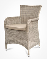 CO9 Design Savannah White Coral Wicker Dining Chair w/ Taupe Cushion - Set of 2