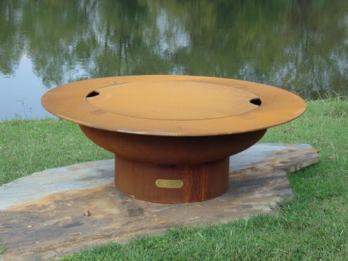 Fire Pit Art Saturn Wood Burning Fire Pit with Optional Lid