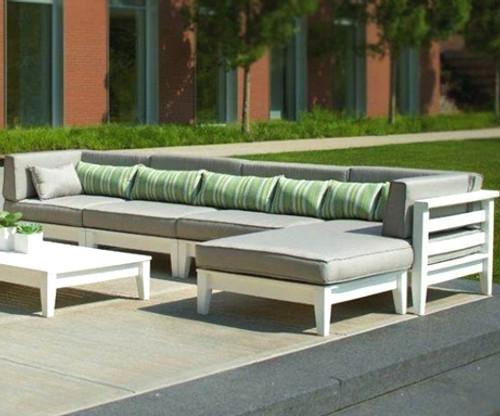 Seaside Casual Cambridge Sectional Left Corner Chair & Cushion 3pc Set