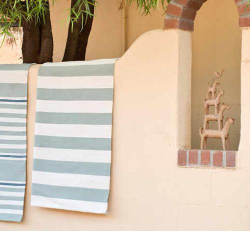 Dash & Albert Catamaran Stripe Light Blue/Ivory Indoor/Outdoor Rug