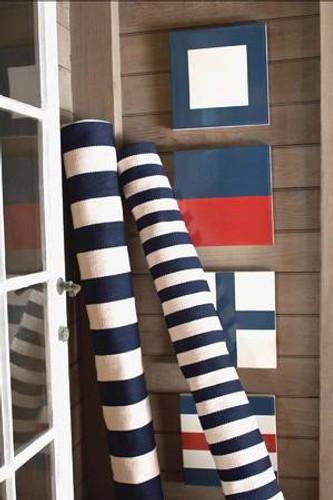 Dash & Albert Catamaran Stripe Navy/Ivory Indoor/Outdoor Rug