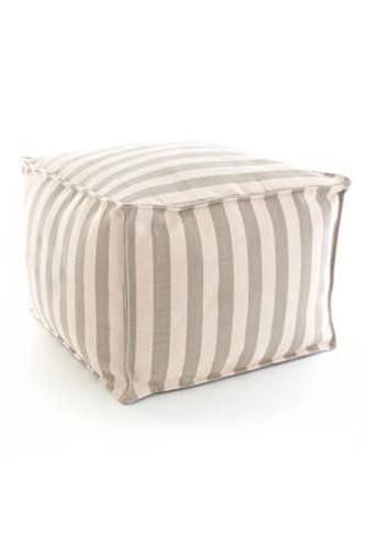 Dash & Albert Indoor/Outdoor Trimaran Stripe Pouf in Platinum/Ivory
