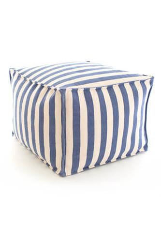 Dash & Albert Indoor/Outdoor Trimaran Stripe Pouf in Denim/Ivory