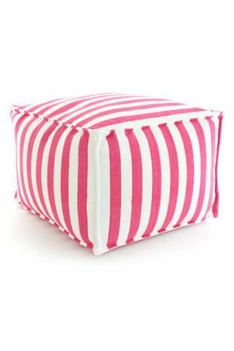 Dash & Albert Indoor/Outdoor Trimaran Stripe Pouf in Fuchsia/White