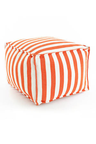 Dash & Albert Indoor/Outdoor Trimaran Stripe Pouf in Tangerine/White