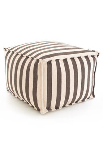 Dash & Albert Indoor/Outdoor Trimaran Stripe Pouf in Charcoal/Ivory