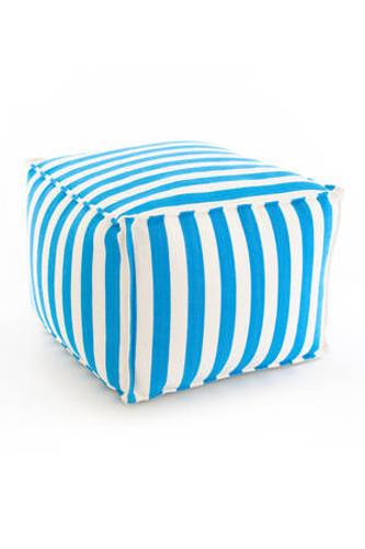 Dash & Albert Indoor/Outdoor Trimaran Stripe Pouf in Turquoise/White