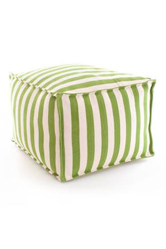 Dash & Albert Indoor/Outdoor Trimaran Stripe Pouf in Sprout/Ivory