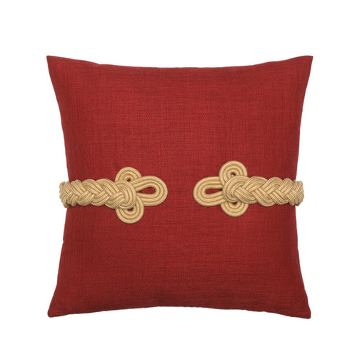 Elaine Smith Red Frog's Clasp Toss Pillow