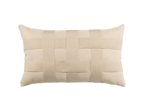Elaine Smith Basketweave Ivory Lumbar Pillow