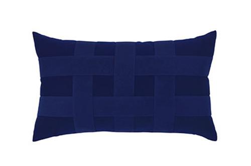 Elaine Smith Basketweave Navy Lumbar Pillow