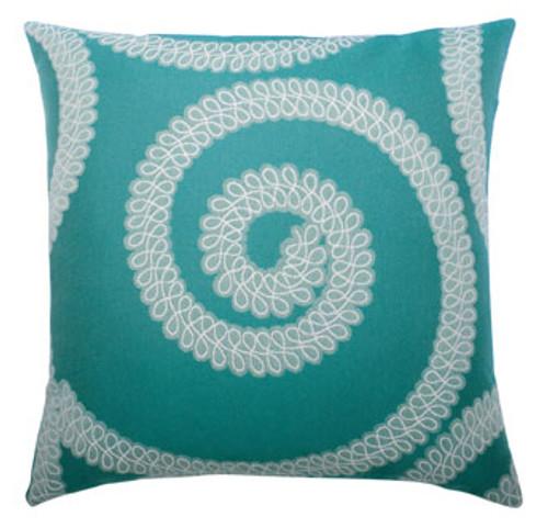 Elaine Smith Spiral Aqua toss pillow