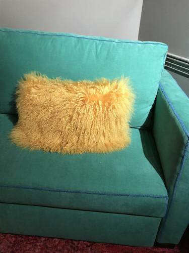 Lamb Fur Rectangle Pillow- Gold