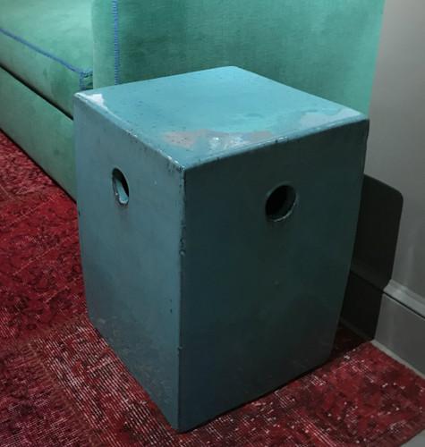 Turquoise Square Garden Stool