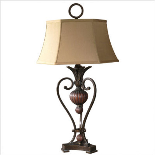 Andra Table Lamp in Golden Bronze with Antique Wood Tone Details