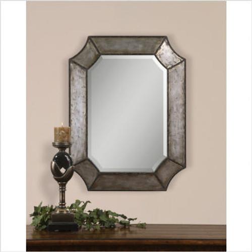 Elliot Mirror in Distressed Hammered Aluminum