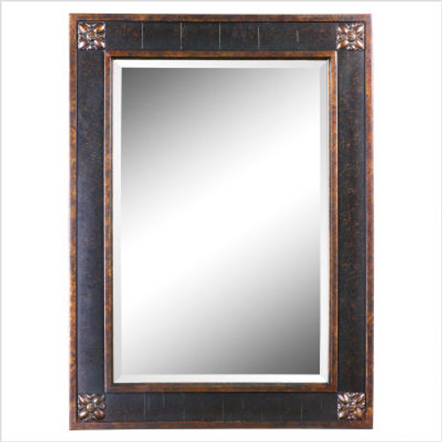 Bergamo Rectangular Beveled Vanity Mirror in Chestnut Brown