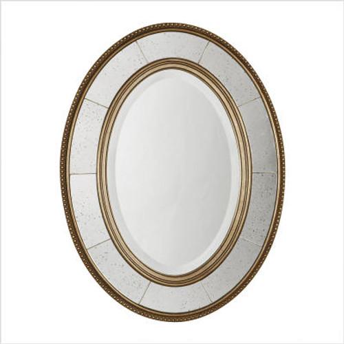 Lara Oval Beveled Mirror in Antiqued Silver Leaf