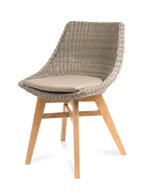 Verge White Coral Wicker Dining Chair w/ Taupe Cushion - Set of 2