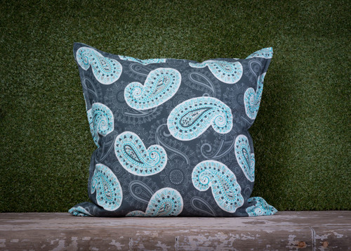 GREY/AQUA PAISLEY TOSS PILLOW 22""