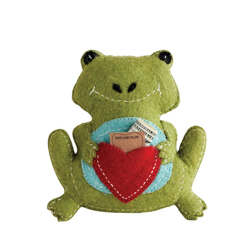 WOOL FROG TOOTH FAIRY PILLOW, GREEN