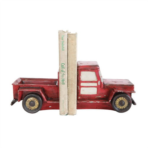 """5-1/2""""H RESIN TRUCK BOOKENDS, RED"""
