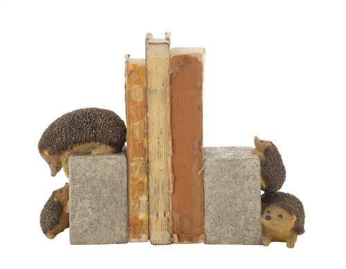 """4-1/4""""L X 3-3/4""""W X 6-1/4""""H RESIN HEDGEHOGS BOOKENDS"""