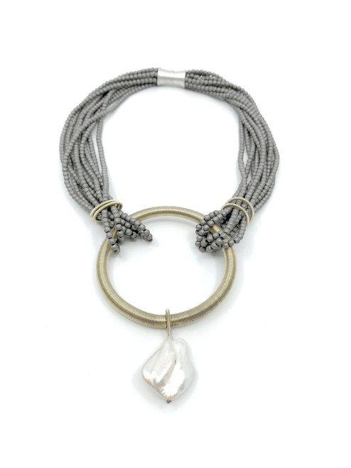 SILVER AND GOLD METAL MATTE HEMITATE NECKLACE