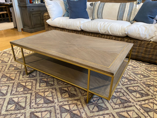 Indoor Coffee Table Wood With Gold Frame