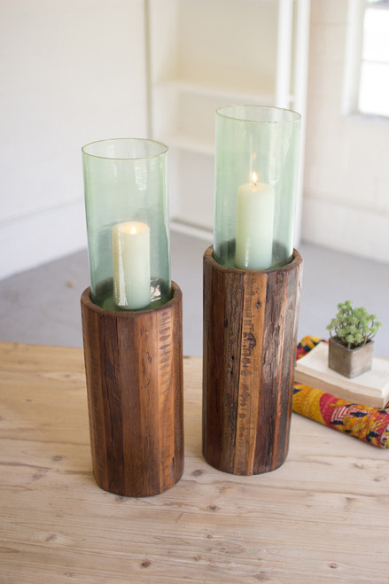 RECYCLED WOODEN PEDESTALS WITH GLASS HURRICANE-LARGE